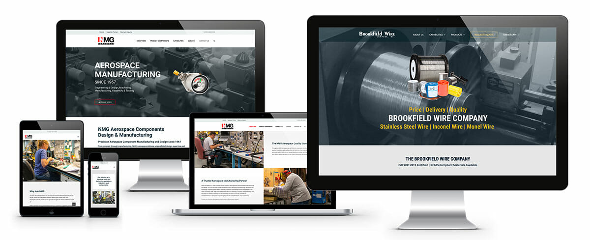 Some examples of ADVAN's web designs on desktop, laptop, and mobile.