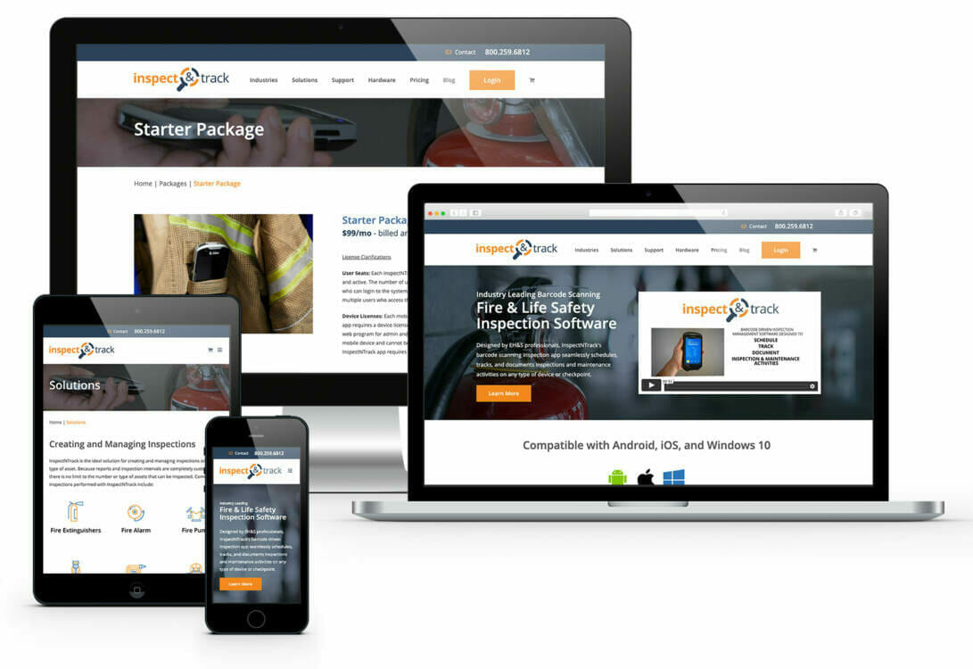 Examples of websites developed by Akron website designer ADVAN Design. Examples shown on a desktop, laptop, and mobile devices.