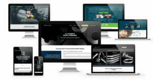 Examples from ADVAN Design's Akron website designer portfolio. Website examples shown on desktop monitors, laptops, and mobile devices