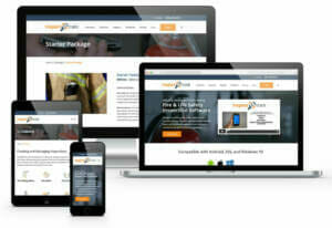 Monitors and Phones with Website Design Examples Displayed