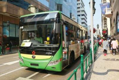 A green bus in the city | Bus driving school
